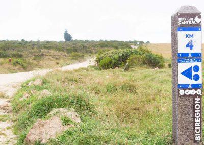 Señalización al costado de la ruta en la que se evidencia un giro a la izquierda en el kilómetro 4.